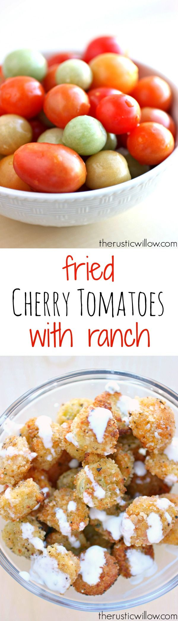 A perfect solution to your end-of-the-season cherry tomatoes.These fried tomato bites with ranch are undeniably delicious | therusticwillow.com
