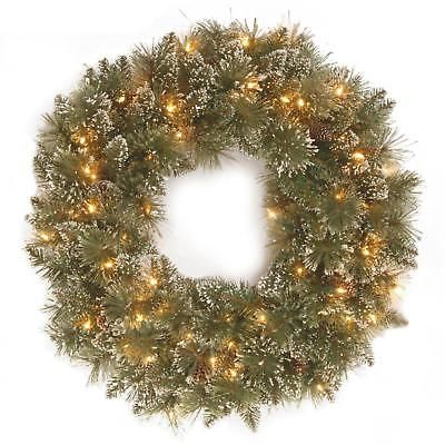 pre lit wreath glittery bristle pine christmas clear lights indoor outdoor 24in - Lighted Outdoor Christmas Wreaths
