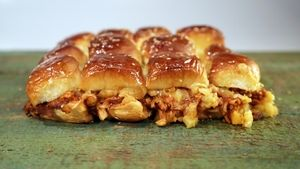 BBQ Chicken Pineapple Pull-Apart Sliders Recipe with Hawaiian mini sweet rolls from The Chew