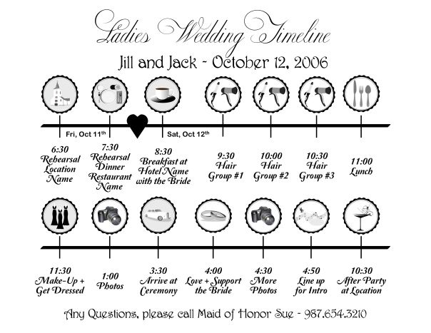 Wedding day timeline 12 30 ceremony