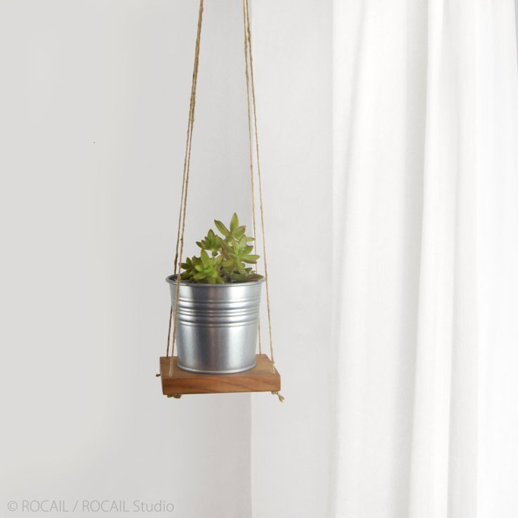 Reclaimed Wood and Jute Plant Holder for DIY Wall Hanging Planter | Swing Shelf, Floating Shelving | Succulent Wooden Plant Stand, Hanger by RocailStudio on Etsy
