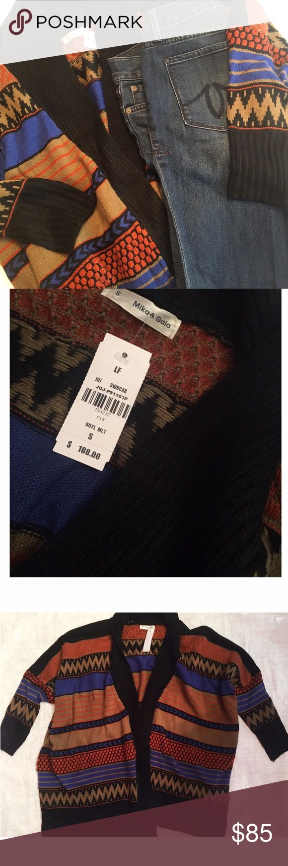 NWT - LF Mika & Gala sweater NWT - Mika & Gala oversized open cardigan sweater. Colors are tan, black, blue and orange. 65% wool/ 35% acrylic LF Sweaters Cardigans