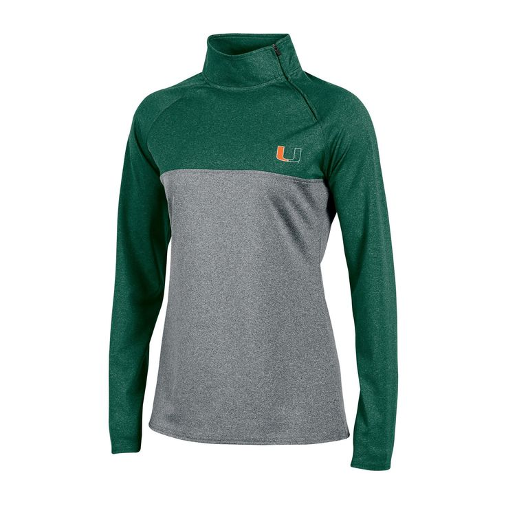 NCAA Women's Consistent Greatness 1/4 Side Zip Poly Jacket with Thumb Holes Miami Hurricanes - L, Multicolored