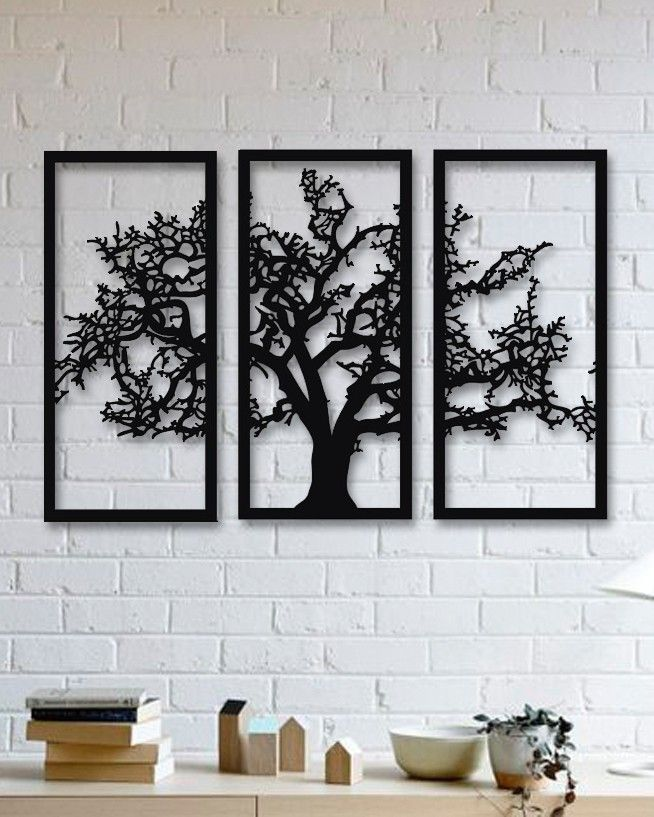 Tree 3 Pieces Metal Wall Art Rustic Wall Decor Black Metal Wall