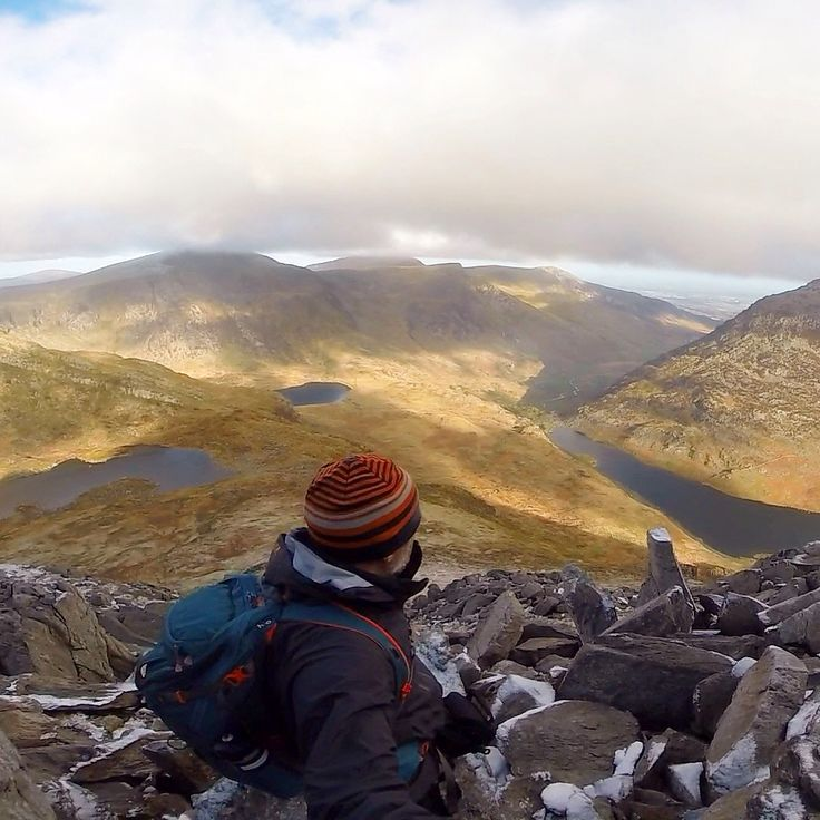 Ogwen Valley.  Enjoying the views from the icy slopes of Tryfan.