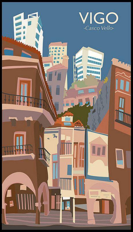 Poster del Casco Vello de Vigo (Galicia, Spain)  Old Town Poster of the Vigo city (Galicia, Spain)  Carlos Castro ©2014