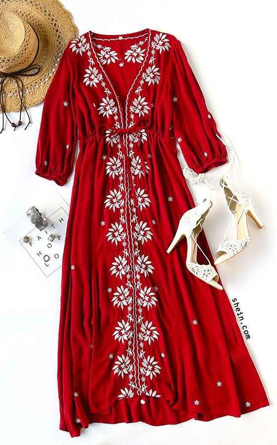 Burgundy Drawstring Waist Embroidered Peasant Dress