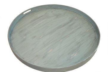 "turquoise serving trays for ottomans | ... Light Turquoise Round Ottoman Tray, 28"" transitional-serving-trays"