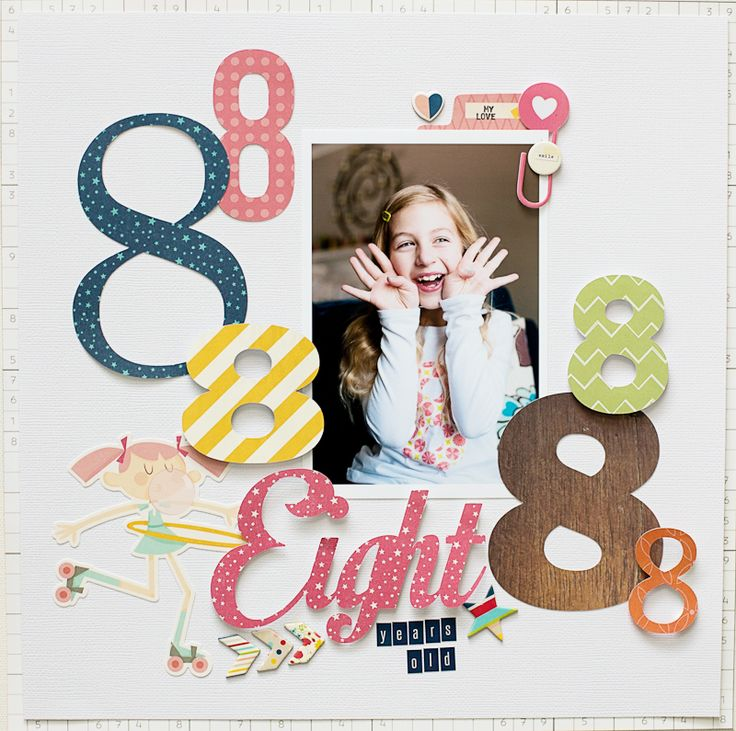 EIGHT #layout by Katie Ehmann #scrapbook #birthday