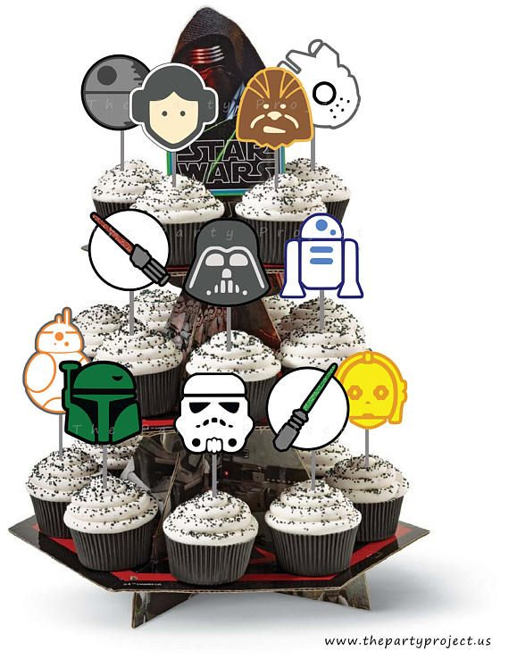 Stupendous Diy Printable Star Wars Cupcake Toppers Star Wars Birthday Party Funny Birthday Cards Online Bapapcheapnameinfo