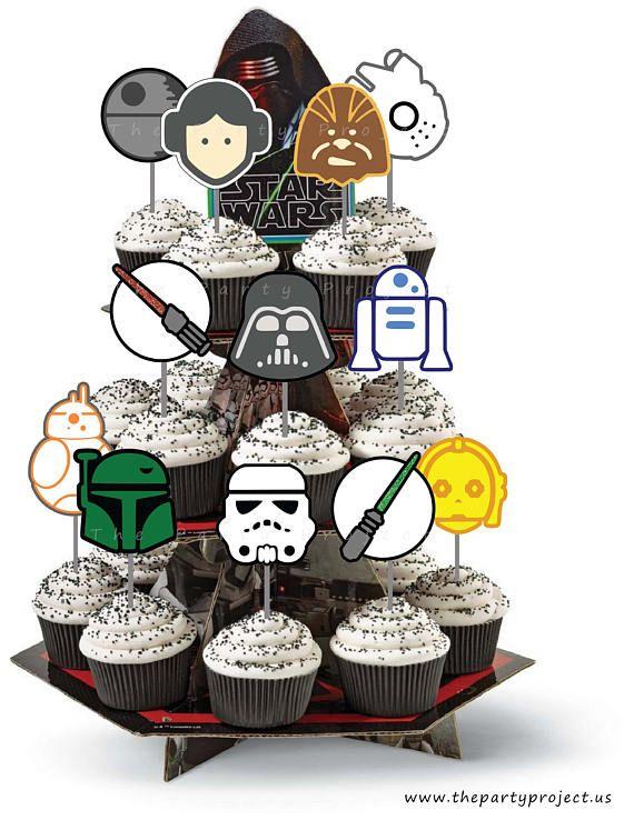 Fantastic Diy Printable Star Wars Cupcake Toppers Star Wars Birthday Party Personalised Birthday Cards Fashionlily Jamesorg