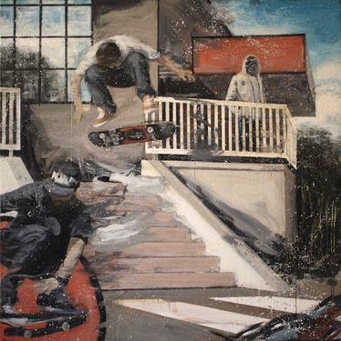 """Saatchi+Online+Artist+Kjetil+Jul;+Painting,+""""Street+Scene+2""""+#art"""