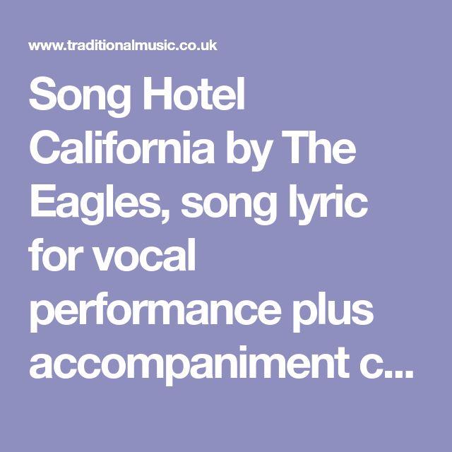 Guitar chords and lyrics for hotel california