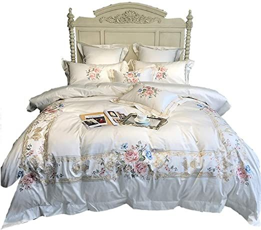 Awj Egyptian Cotton Luxury Embroidery White Bedding Set Queen King Size Bed Cover Duvet Cover Bed Sheet Set 1 King Size Bed Covers White Bed Set Bed Sheet Sets