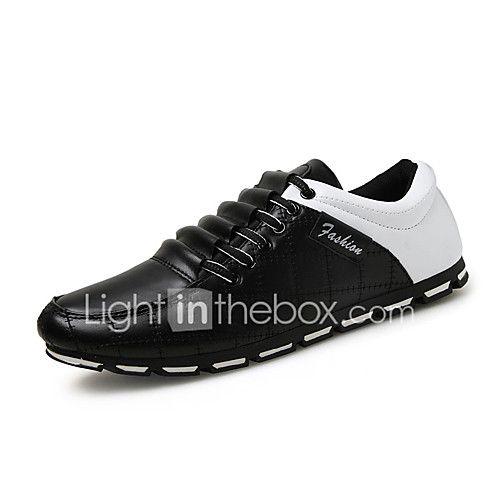 Hombre-Tacón Plano-Mocasín / Punta Redonda-Zapatos de taco bajo y Slip-Ons-Casual-PU-Negro / Marrón / Negro y Blanco 2017 - $21.99