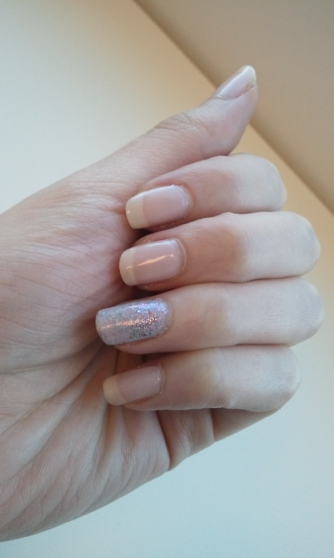 OPI - Don't Burst my Bubble (OZ The Great & Powerful Soft Shades Collection) with accent nail China Glaze - Full Spectrum (Prismatic Collection).  Sandwiched Full Spectrum under a coat of Don't Burst My Bubble and then applied a little Full Spectrum at the nail bed.