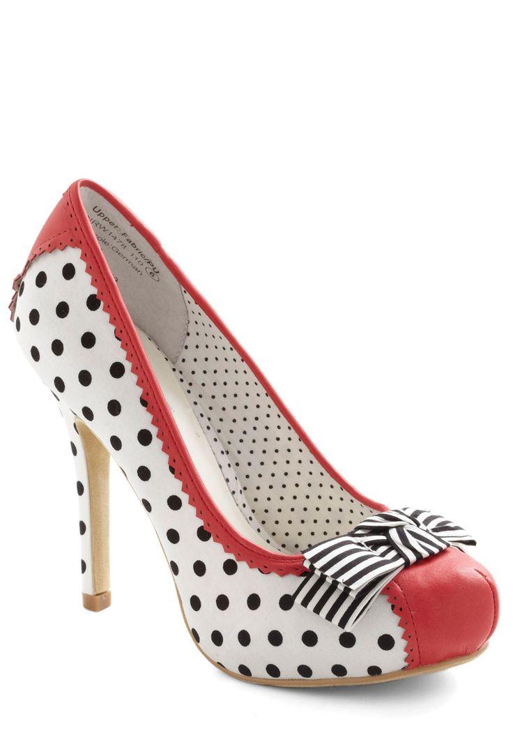 Take the Spotlight Heel - High, White, Red, Black, Solid, Polka Dots, Stripes, Bows, Trim, Rockabilly, Pinup