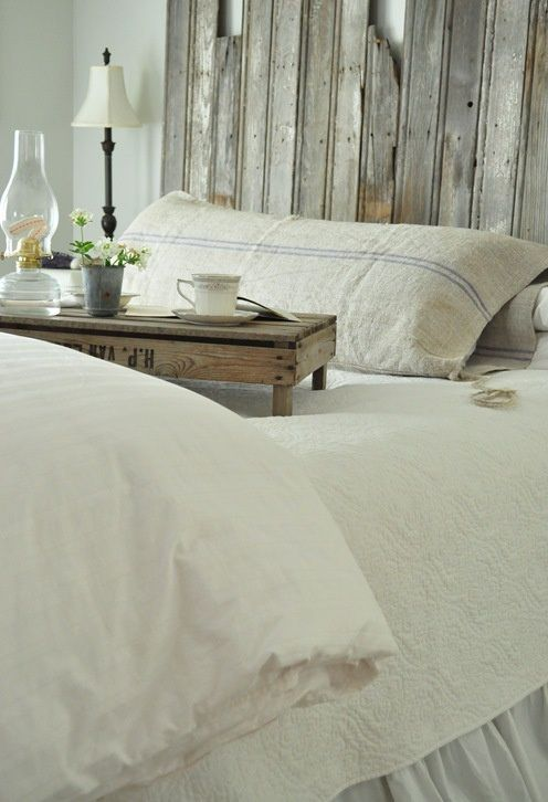 rustic wooden tray and the headboard. love.