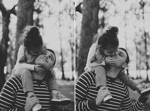 Daddy daughter, black and white, photography