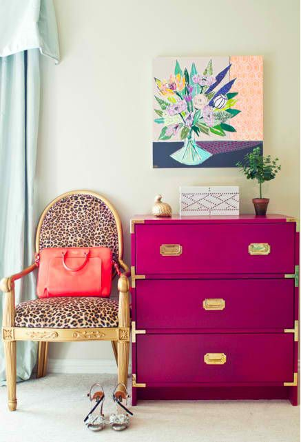 LOVE the campaign dresser in fuchsia with the leopard print chair!