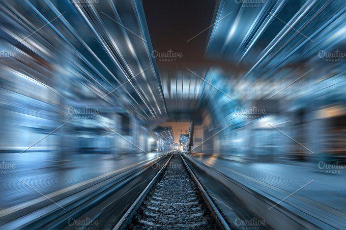 Railway station at night with blur by den-belitsky on @creativemarket