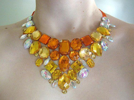 Yellow Rhinestone Bib Necklace Jeweled Bib por SparkleBeastDesign