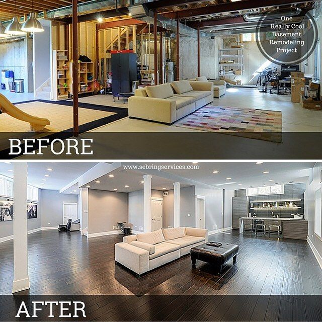 """242 Likes, 11 Comments - Bryan Sebring (@sebringservices) on Instagram: """"Check out this before and after picture of a basement we finished in #Naperville. #sebringservices…"""""""