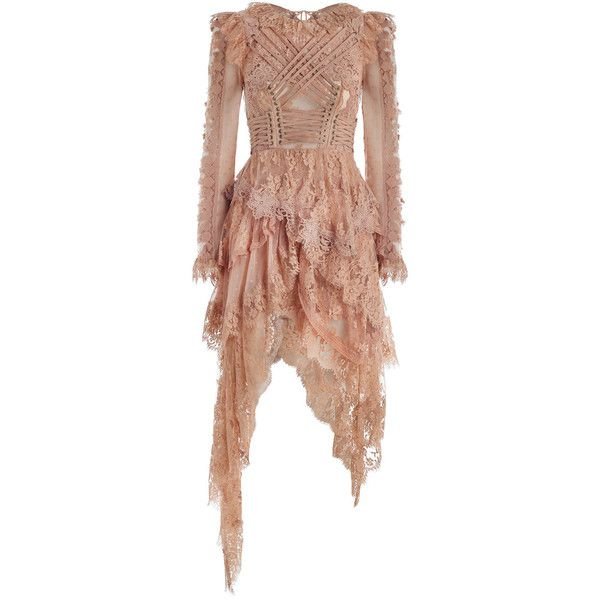 ZIMMERMANN Bowerbird Romance Mini Dress (€3.030) ❤ liked on Polyvore featuring dresses, short dresses, long-sleeve mini dress, lace mini dress, embroidered dress and beige lace dress