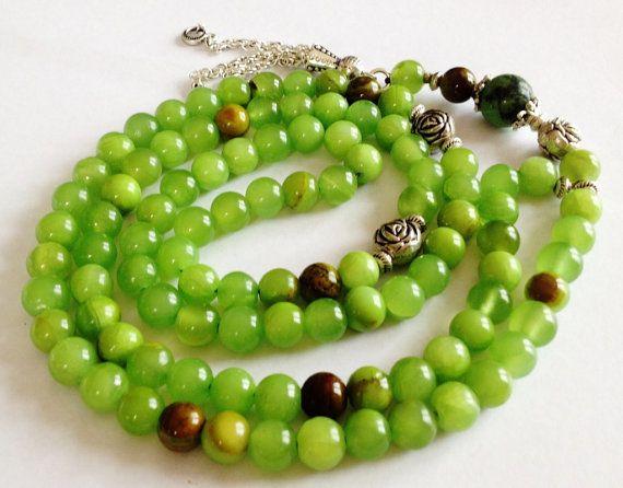 Turkish Islamic Muslim 99 Prayer Beads, Tesbih, Tasbih, Misbaha, Sibha, Sufi, Love, Immune System, PTSD - Green Jade
