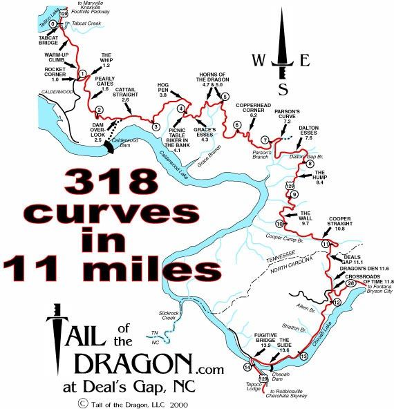 Bike Rides on The Tail of the Dragon at Deal's Gap, NC. Rode this twice. 318 curves in 11 miles. what a ride it was! loved it!