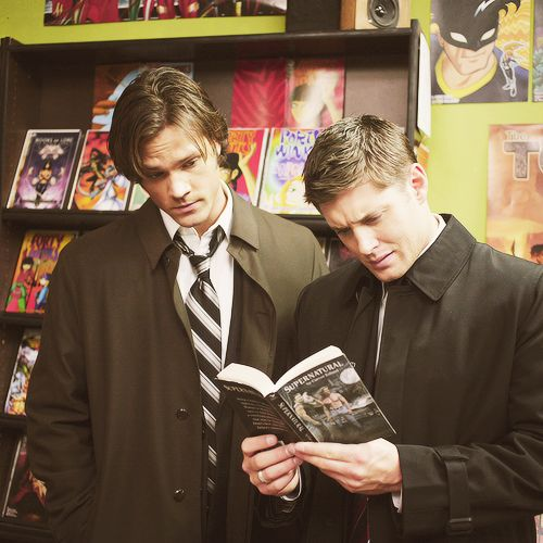 "Sam & Dean reading about Sam & Dean. Sam is like ""this is interesting"" and dean is like ""what is this crap?"""