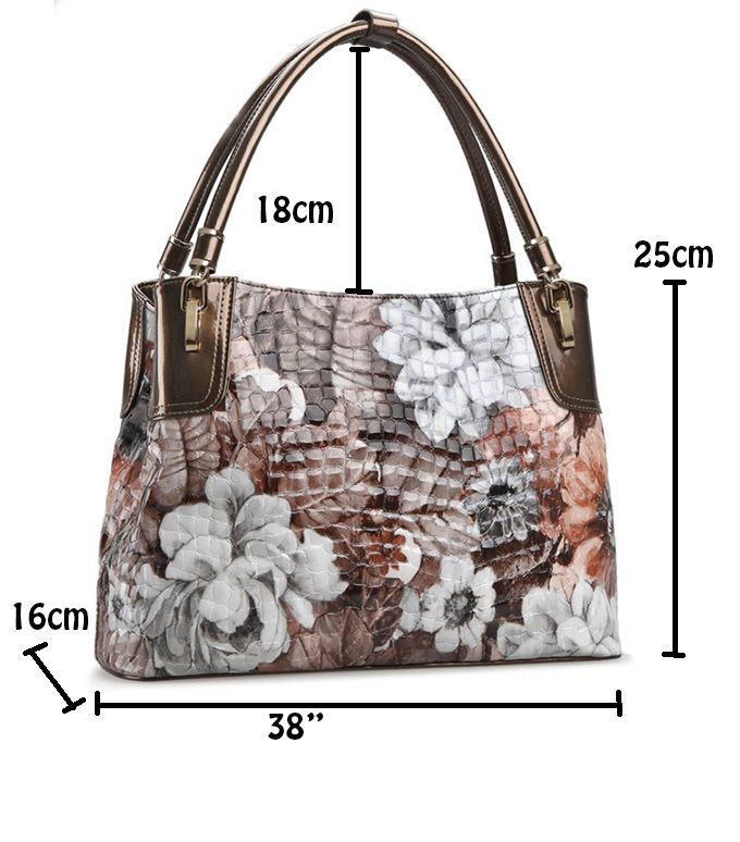 Floral Crocodile Pattern Genuine Leather Shoulder Bags for Women of Novelity