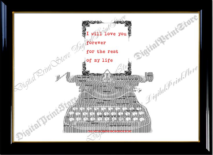 """Wedding Gift Love Quote Typography Typewritter Word Printable of """"Typewritter Quote 002"""" Wall Art Decor Printable Digital by DigitalPrintStore on Etsy"""