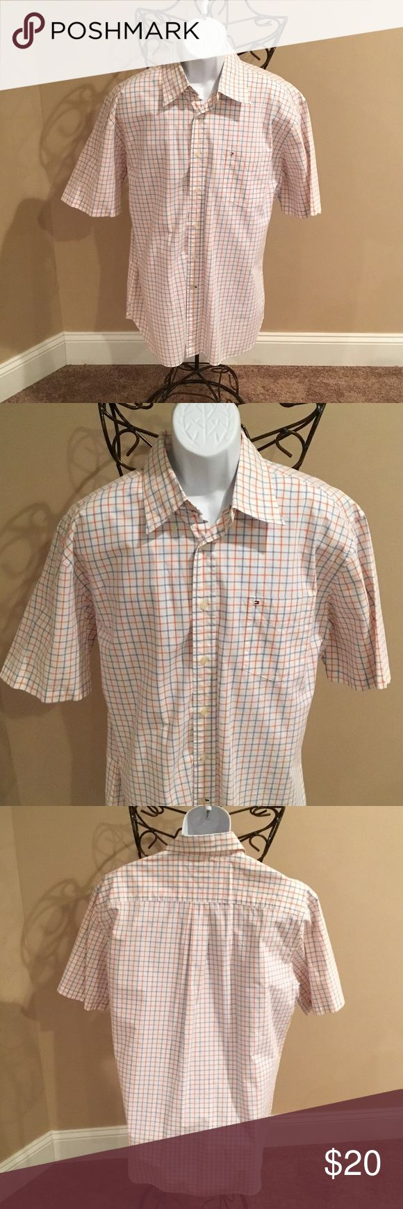 TOMMY HILFIGER SHORT-SLEEVE DRESS SHIRT WHITE WITH BLUE AND ORANGE STRIPES. 💯% COTTON. Tommy Hilfiger Shirts Dress Shirts