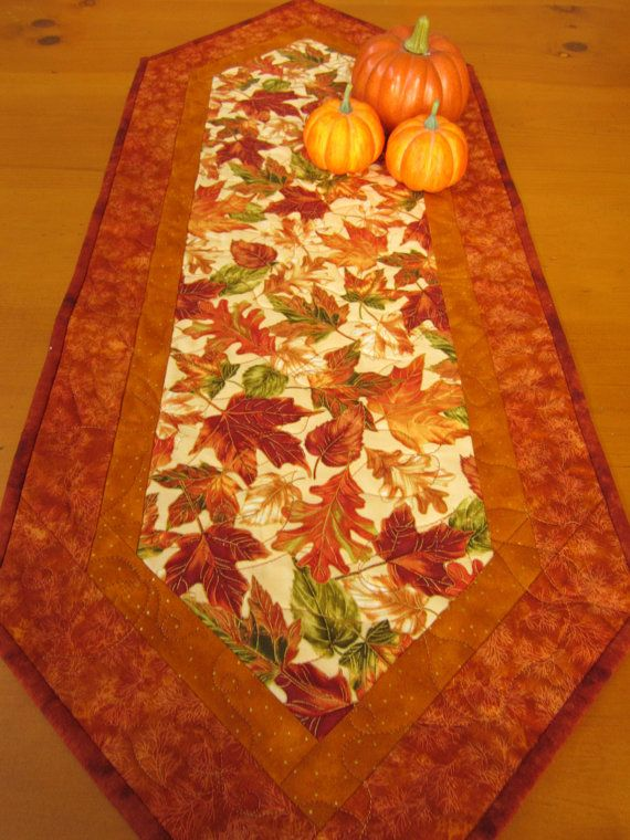 Autumn Foliage Table Runner by PatchworkMountain on Etsy