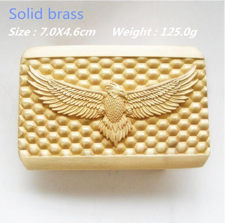Розничная мода твердой латуни крутой 3D орел пряжки ремня 70 * 46 мм 125 г желтый металл для 4 см широкий пояс подходят мужчины женщины джинсы аксессуары