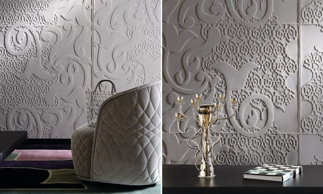 Wow, talk about a luxurious look to a room! 3-d wall.