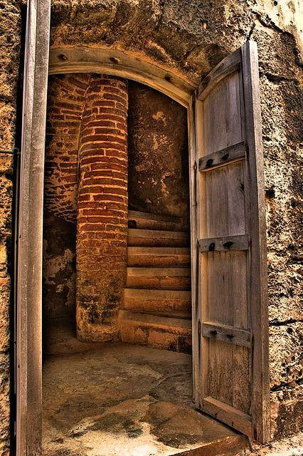 abandoned staircase and door