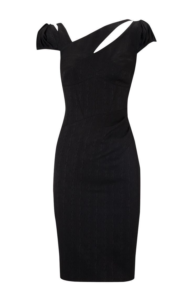 Karen Millen Jacquard Moire Dress Black ,Karen Millen DK004 - www.karenmillenoutletonline-ireland.com