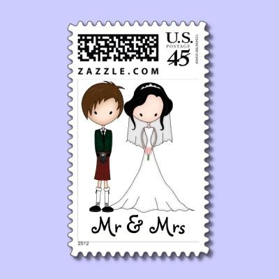Scottish Bride & Groom Cartoon Mr & Mrs # wedding Postage