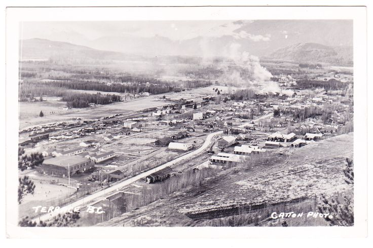 View looking down on Terrace, British Columbia circa 1955.