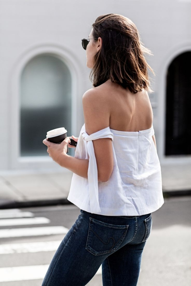linen off-the-shoulder top, skinny jeans, summer 2016