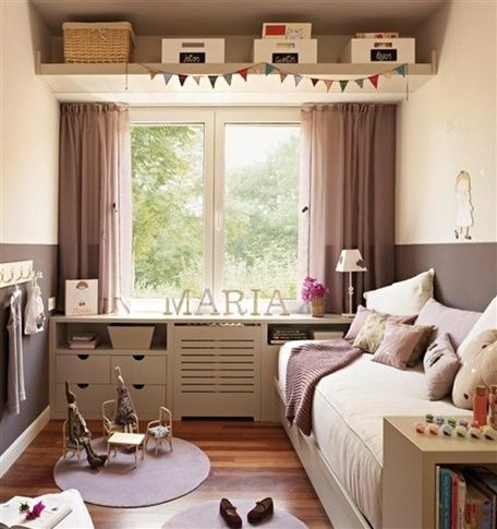 bed and window inspiration. Perhaps the extra storage space with the shelf on top of the window :)