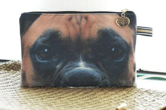 Boxer, Boxer etui, Boxer portemonnee, Boxer koppeling, hond minnaar koppeling, hond portret koppeling, hond make-up tas, PD-234