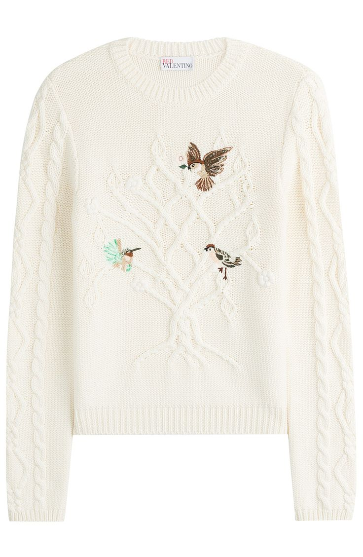 RED VALENTINO Cotton Cable Knit Pullover With Embroidered Birds. #redvalentino #cloth #scoop neck