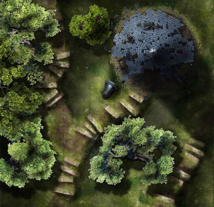 forest map rpg fantasy maps encounter dungeon tower tabletop pathfinder abbey tiles battlemap dragons dnd dark gardmore battlemaps dungeons maker