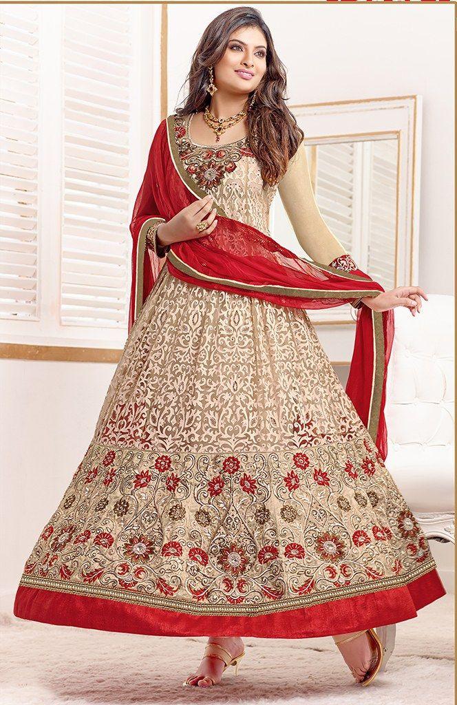 Sayali Bhagat Georgette Beige Semi Stitched Anarkali Suit by fabfiza-Clothing-FABFIZA
