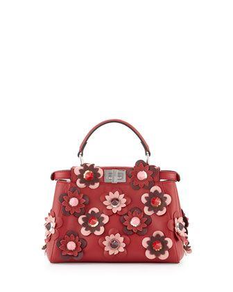 Peekaboo Mini Allover Flower Satchel Bag, Red by Fendi at Neiman Marcus.