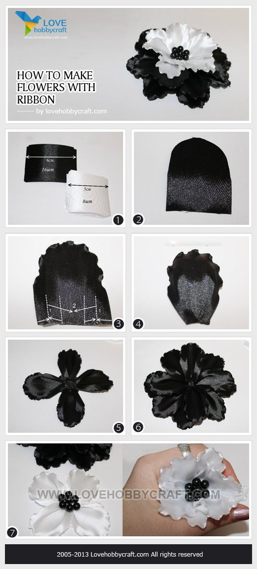 black ribbon flower