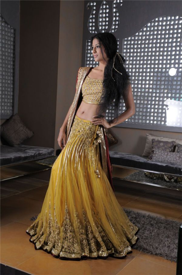 yellow color lehenga choli visit http://panachehautecouture.co.in for beautiful collection of wedding collection